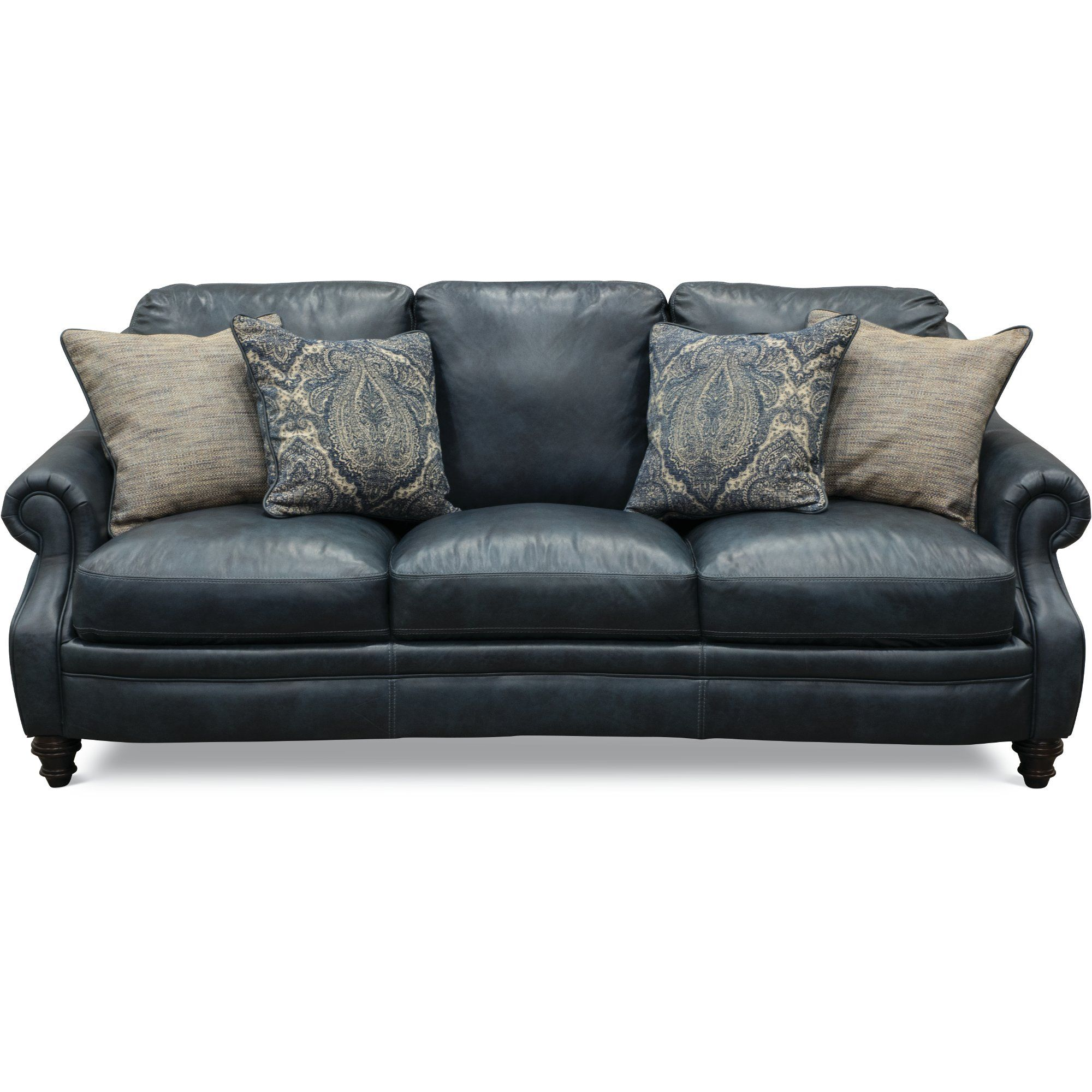 Classic Traditional Navy Blue Leather Sofa Admiral In 2020 Navy Blue Leather Sofa Blue Leather Sofa Blue Leather Couch