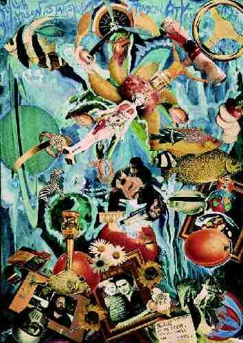 "Collage - 1985 48 x 68 cm ""Remember - Once upon a time ... in 1957"" ""Riders on the storm, into this world we´re thrown"" J. Morrison"