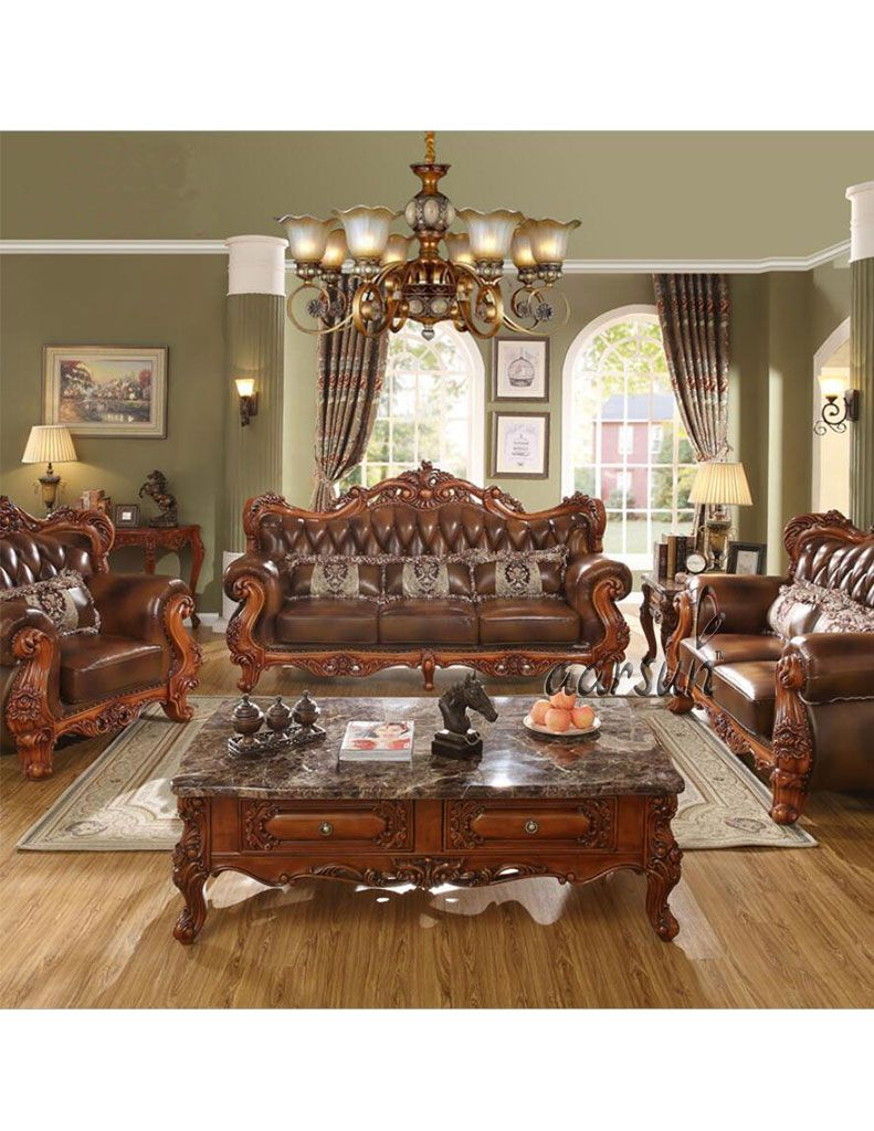 Luxurious Brown Leather Sofa Set Yt 217 In 2020 Luxury Sofa Living Room Modern Sofa Living Room Wooden Sofa Designs #wooden #sofas #for #living #room