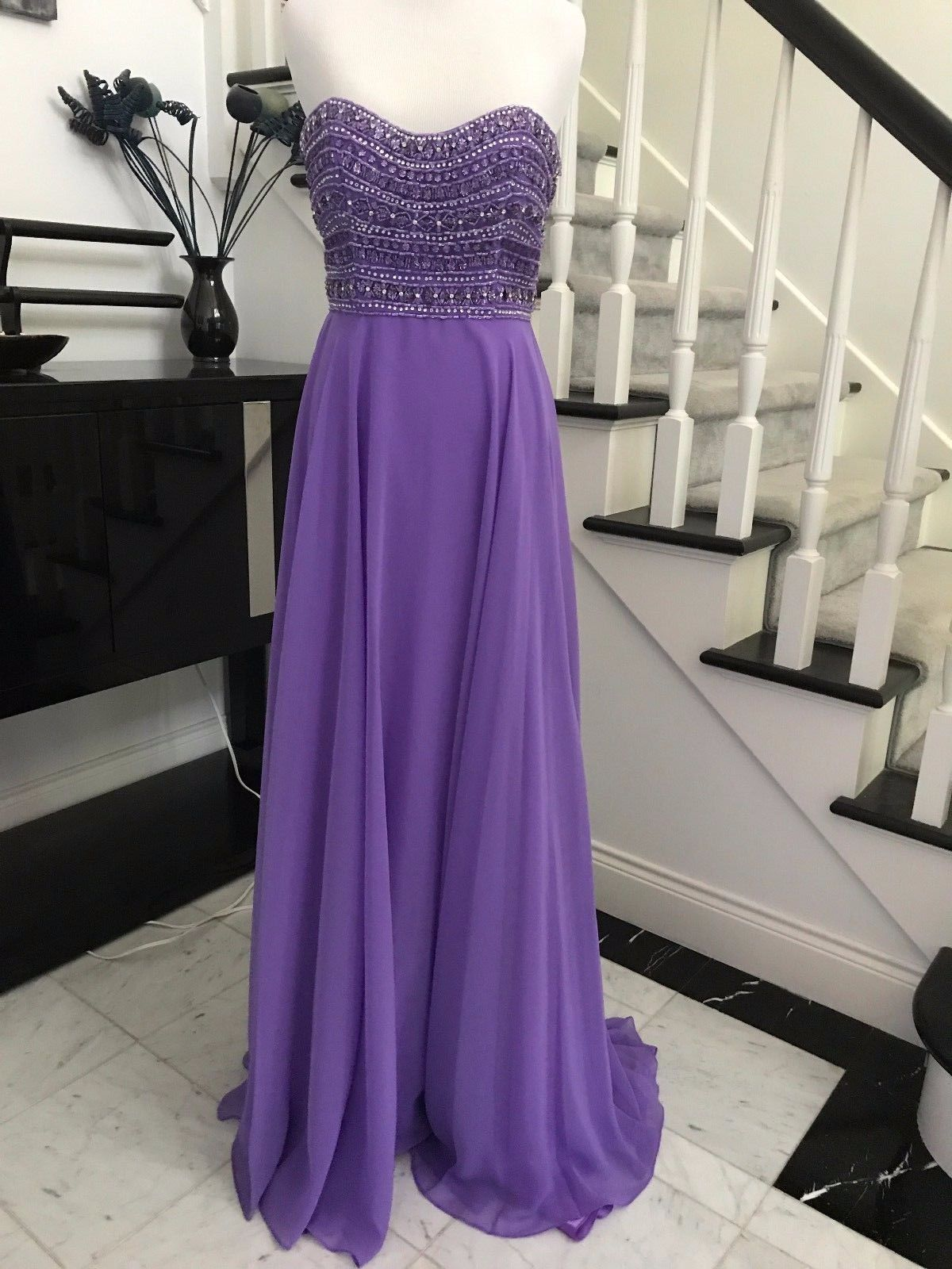 Awesome great strapless beaded purple long prom dress bridesmaids