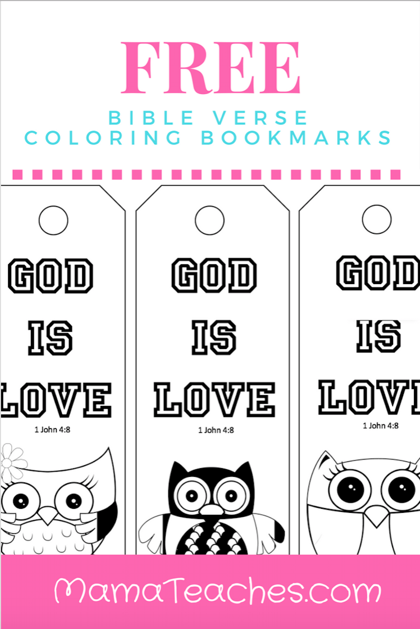 free printable god is love coloring bookmarks for kids | mama