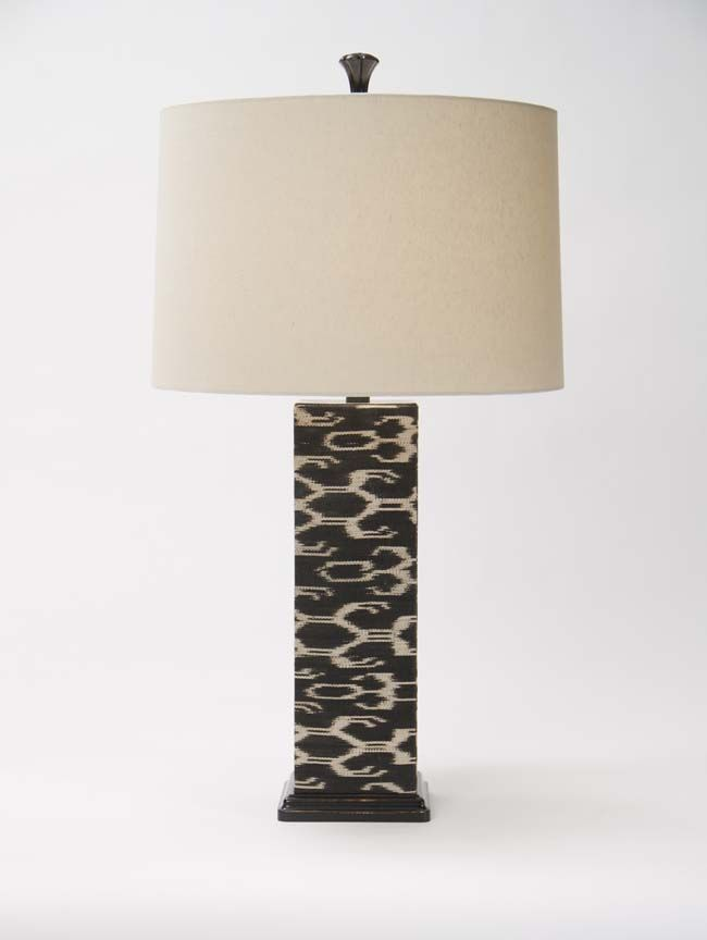 Ikat Square Table Lamp Western Lamps Woven Fabric Wraps The Square