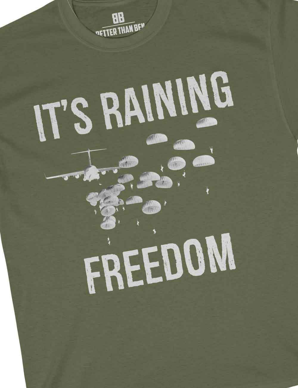 53cf53fd5c Closeup of It's Raining Freedom Paratrooper Shirt - Military Green ...