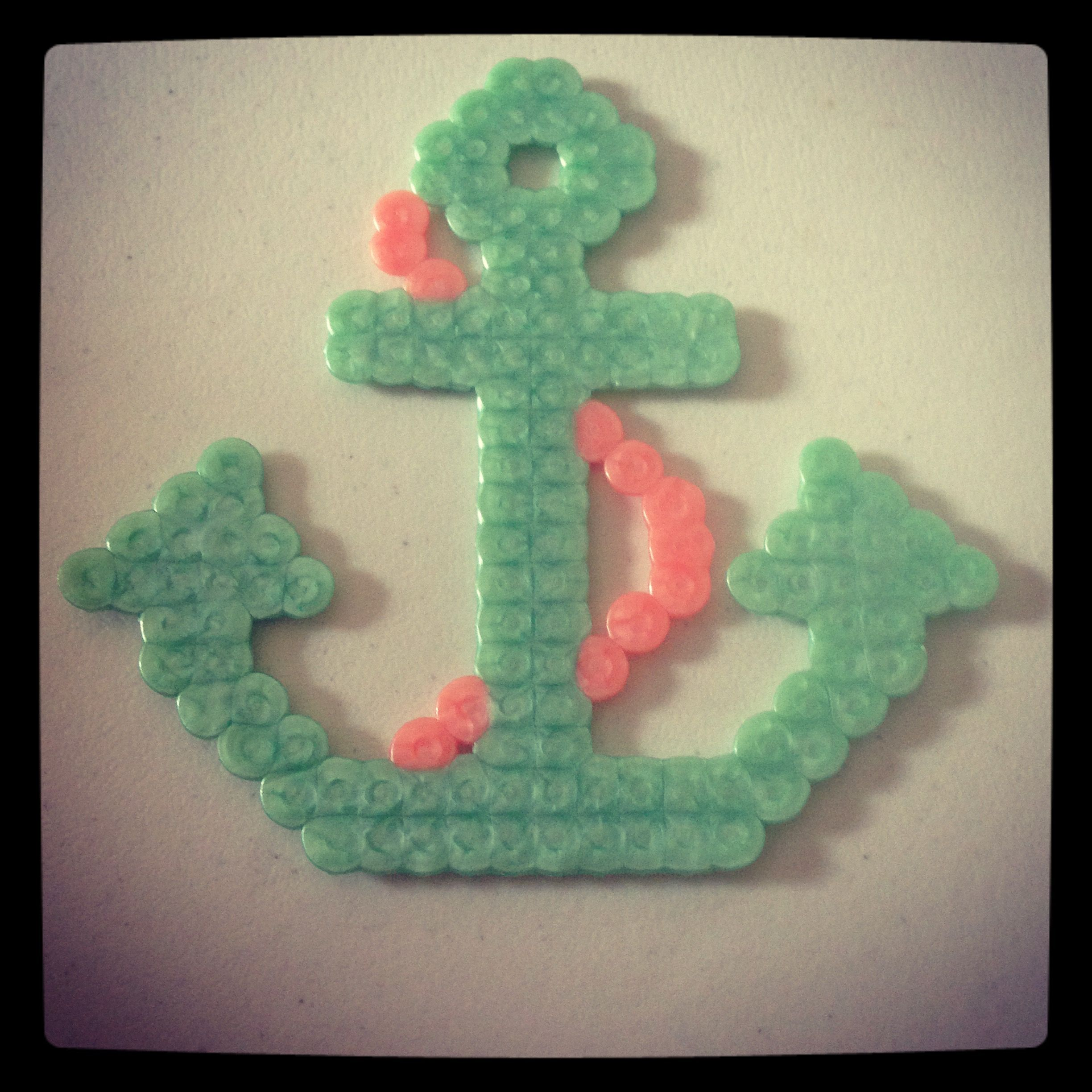 beautiful anchor made from perler easy and