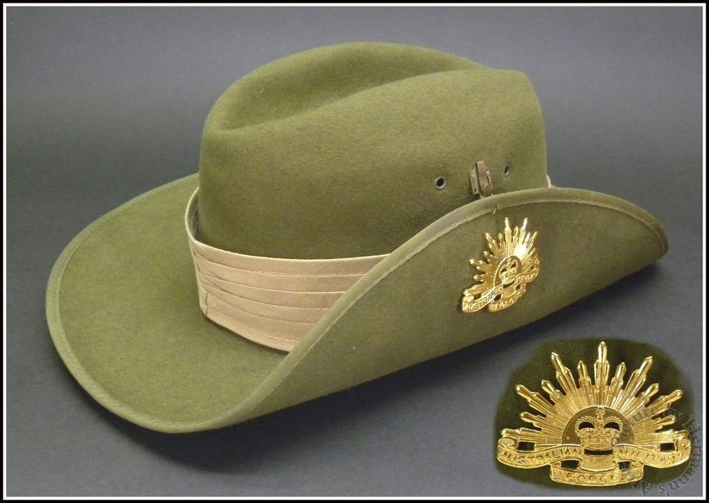 fb01ab5c42f 1960 s Vintage Vietnam War Era Australian Army Slouch Hat with Military  Badge  Unknown  SlouchHatMilitary