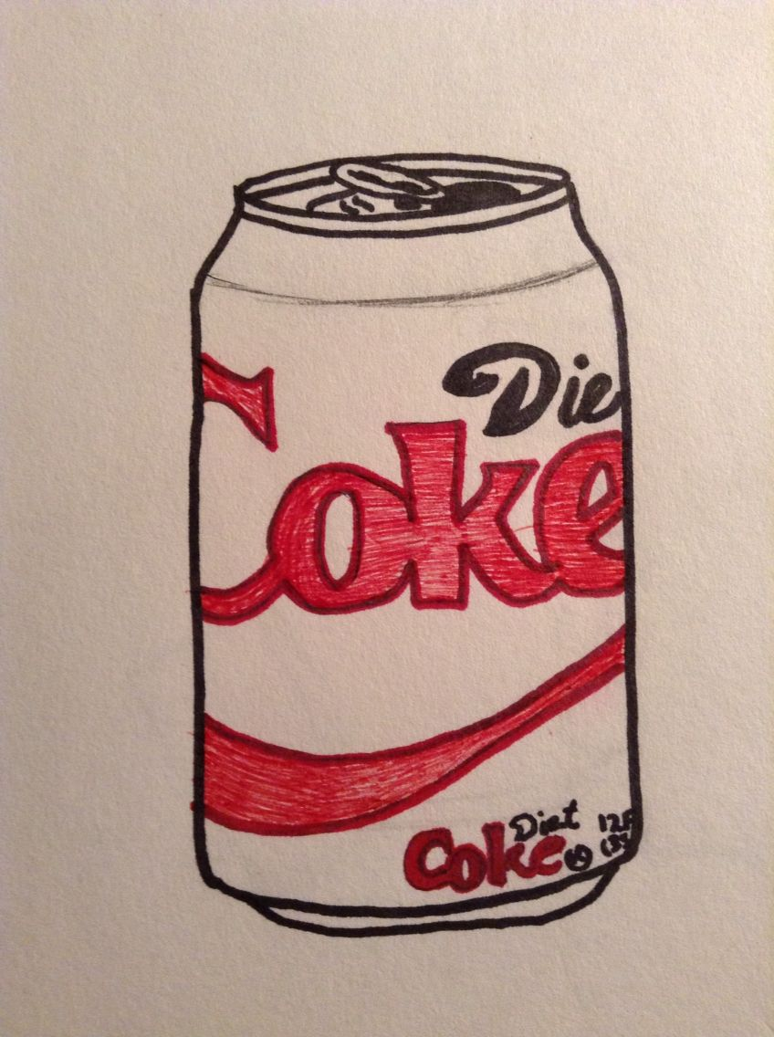 Half Colored Drawing Of A Diet Coke Can Find Something To Draw When You Re Bored Diet Coke Can Diet Pills That Work Diet Coke