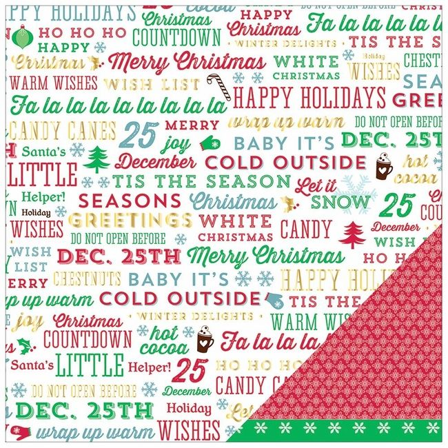 Peppermint Express: Jolly Greetings 12 x 12 Double-Sided Foiled Cardstock