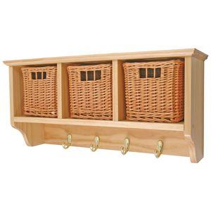 estante pared en madera pino lacada con cajones de mimbre lacado comprar venta online hm