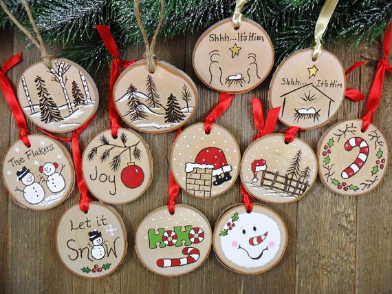 Wood burned birch slice ornament hand burned painted joy red