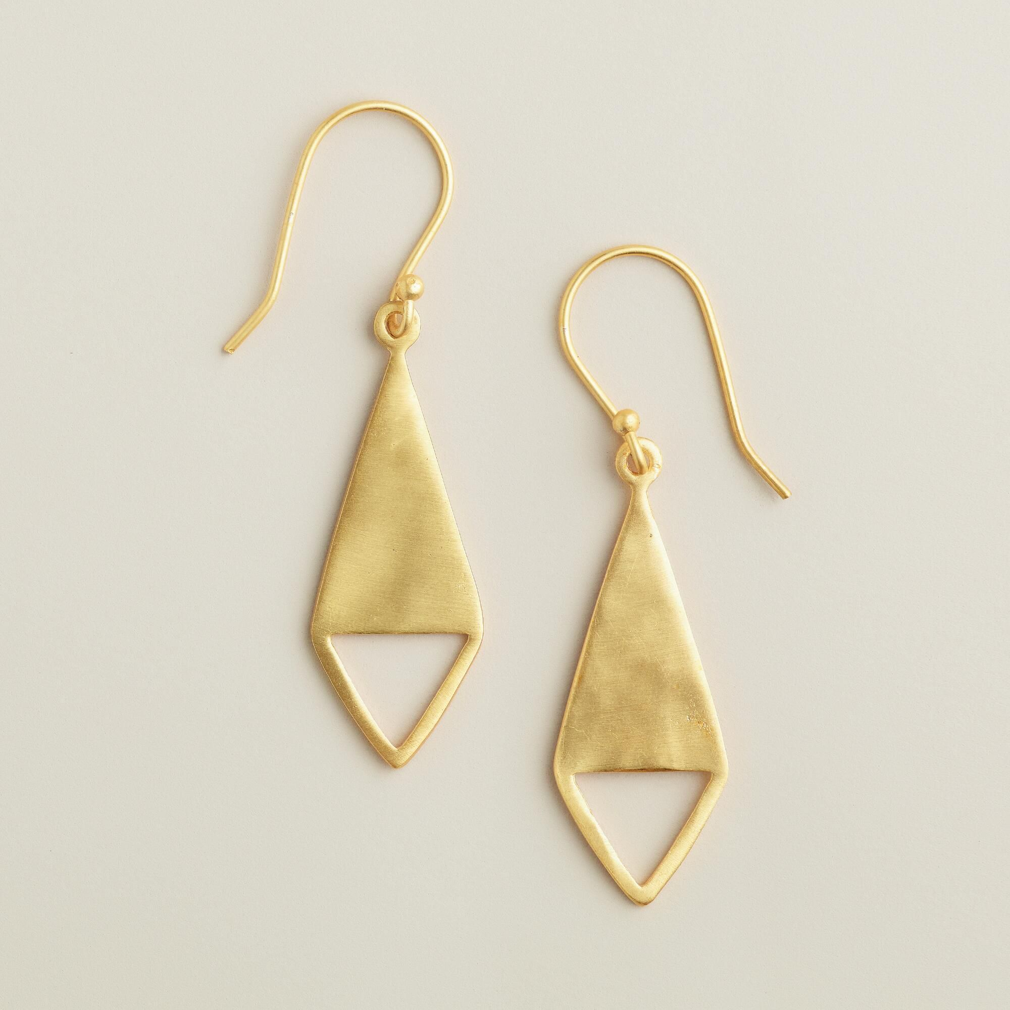 pointy pieces tassel plated bead petal caps index matte gold earrings