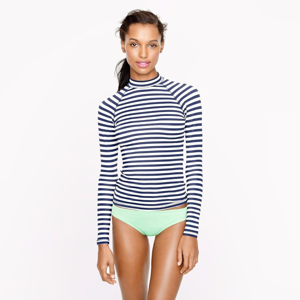 J.Crew Striped Navy Blue Rashguard Large L Womens Swim Shirt Suit  JCrew   SwimSkirt 9739e92d62