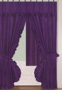 Purple Ruffled Double Swag Fabric Shower Curtain Vinyl Liner 12