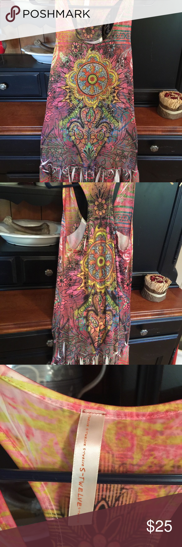 Dress/ Shirt This can be a dress or long top over leggings soo cute size Small / petite s-twelve Dresses
