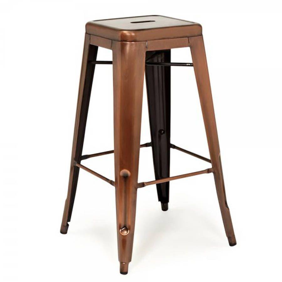 a copper industrial bar stool