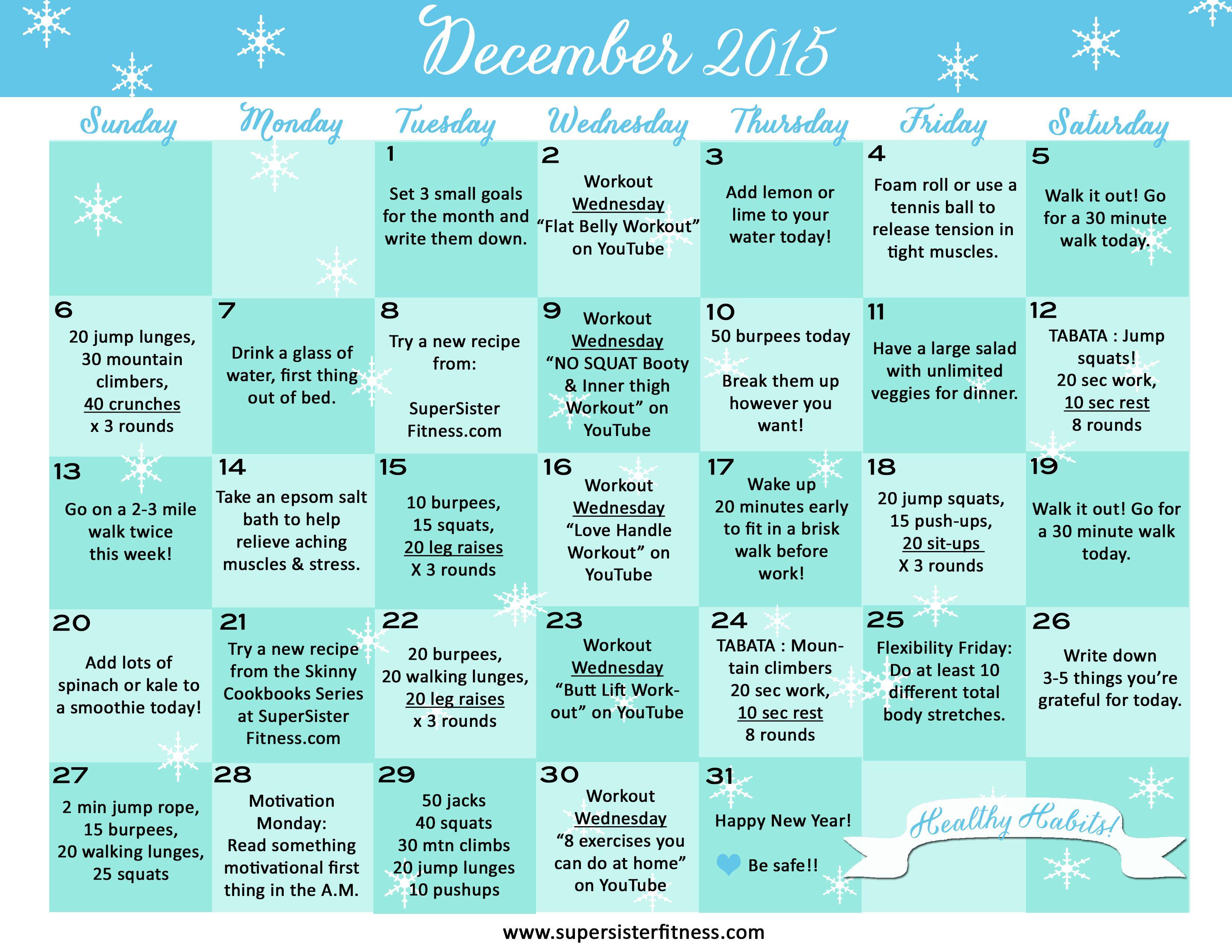 Fitness Challenge Calendar December 2015 Super Sister Fitness Workout Challenge Free Fitness Challenge Flat Belly Workout