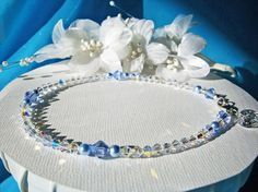 Something Blue Anklet Swarovski Crystals by CrystalBlueDesigns