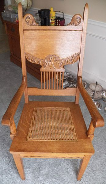 Detail From 1890u0027s Oak Captainu0027s Chair. Manufactured By The Skandia  Furniture Company In Rockford, Illinois