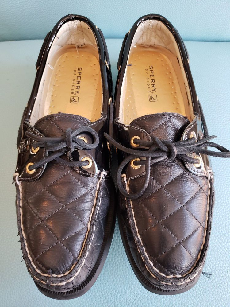 f5112fc0a637a Sperry Top-Sider Women s Black Leather Quilted Boat Shoes Size 8 M  fashion