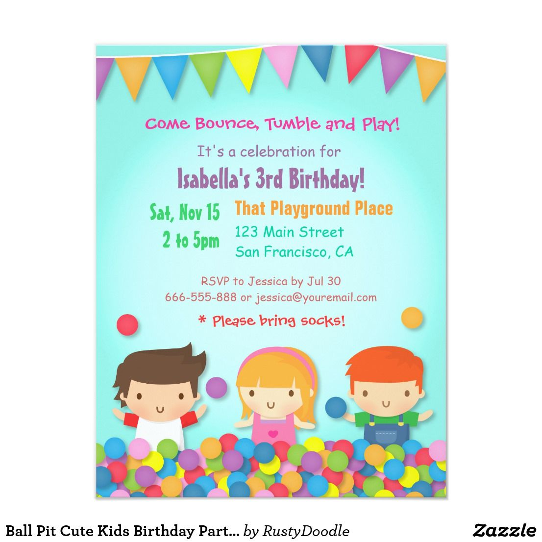 Ball Pit Cute Kids Birthday Party Invitations | Kids birthday party ...