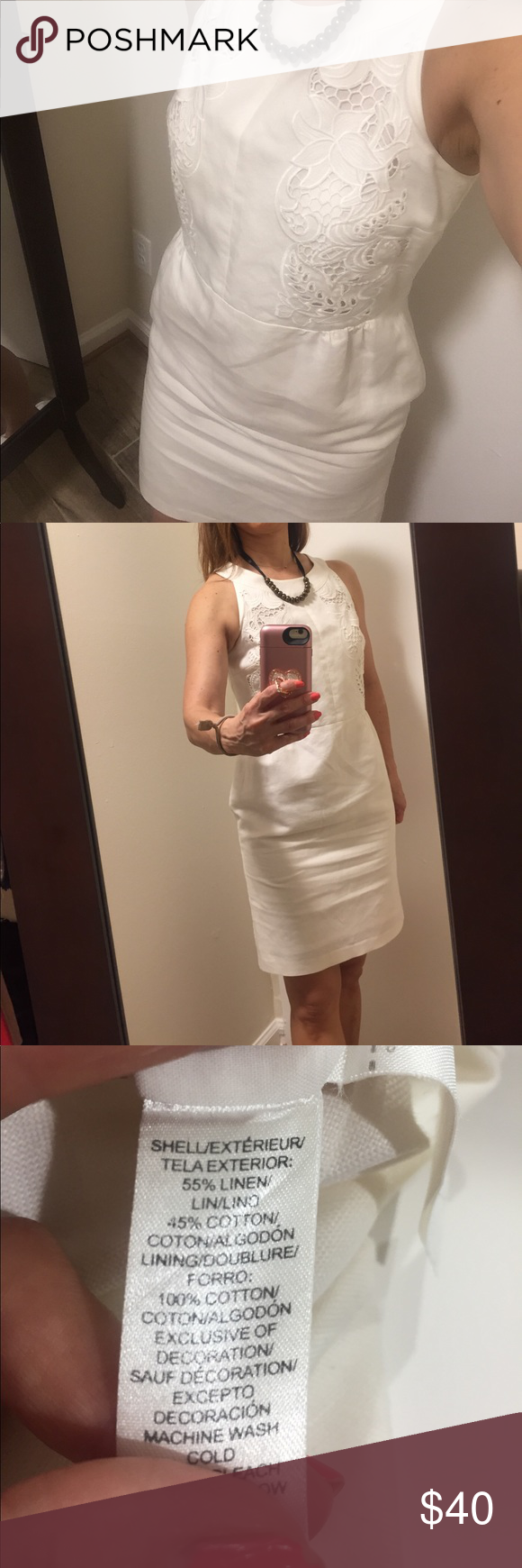 Ann Taylor LOFT white dress Linen and cotton blend so it's cool summery dress.  Excellent condition. LOFT Dresses