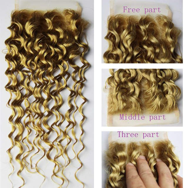 Online Shop 3 Bundles Honey Blonde Brazilian Curly Virgin Hair