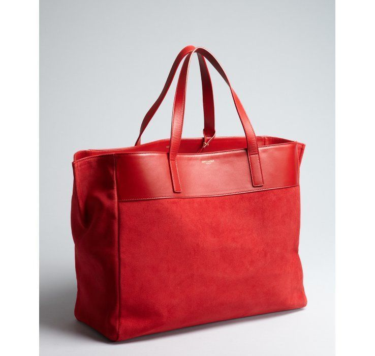 Saint Laurent rouge orient suede oversized large tote with pouchette   Chanelhandbags 5f8f394aa0f