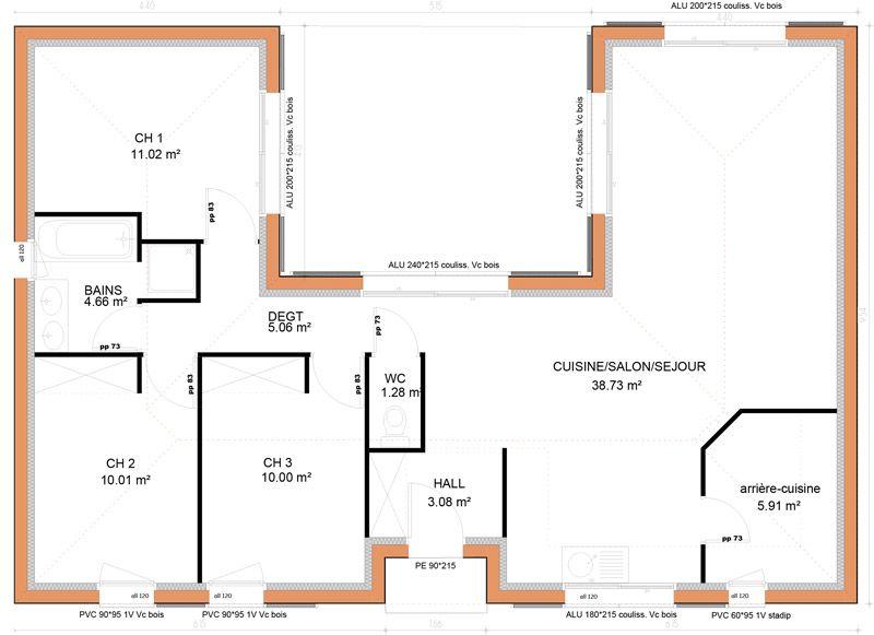 Plan Maison Plain Pied  Chambres En U  Plan Maison