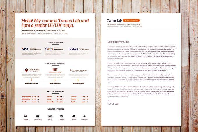 Visual Resume CV template - 365psd web sablon Pinterest Cv - ui ux resume