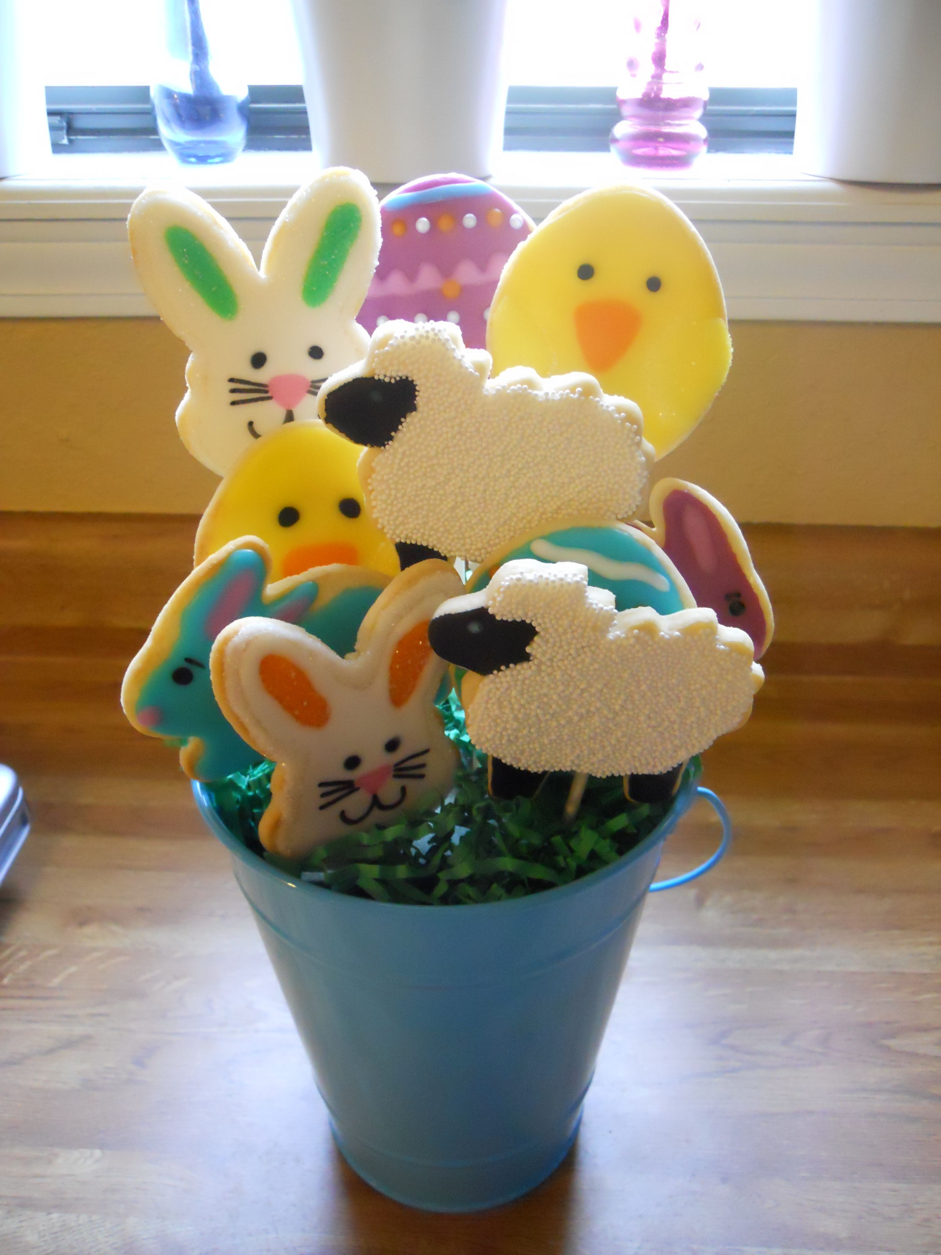 Easter themed sugar cookie bouquet (boy) | Homemade easter ...