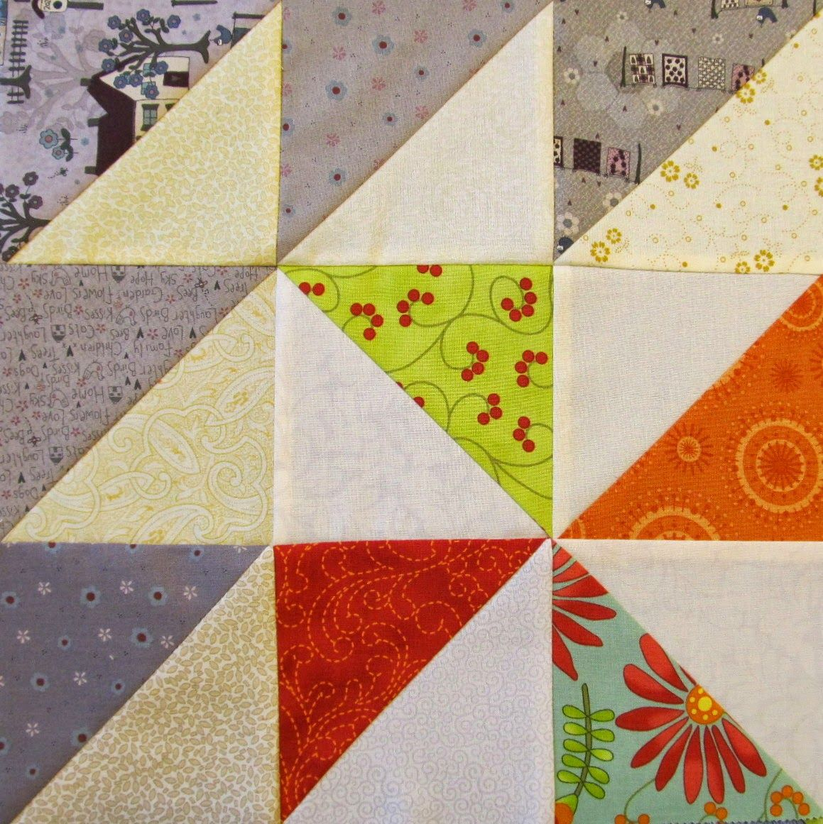 free Scrappy Triangle Quilt Pattern Tutorial   Quilt Ladies blocks ... : triangle quilt pattern free - Adamdwight.com