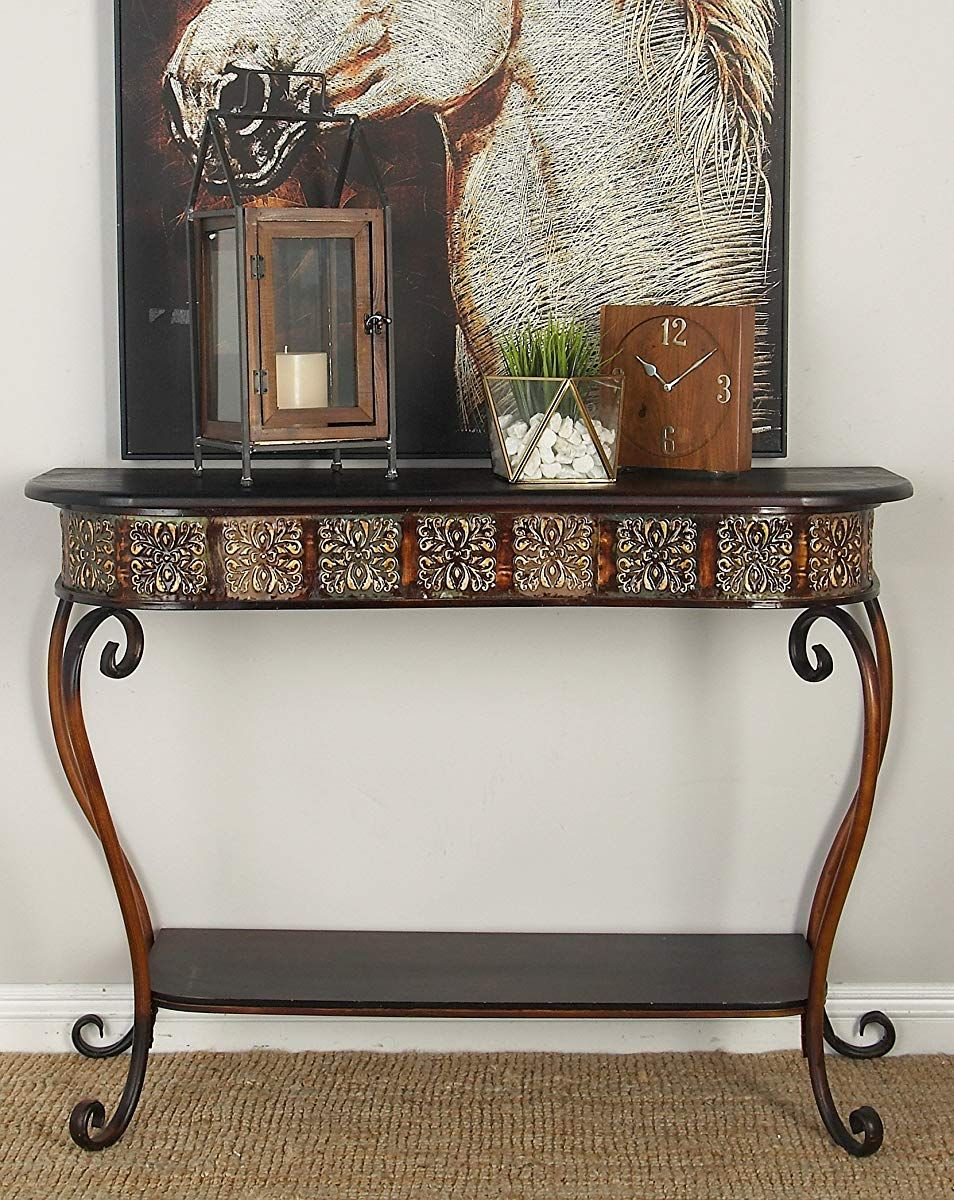 Wrought Iron And Wood Console Table Metal Living Room Metal
