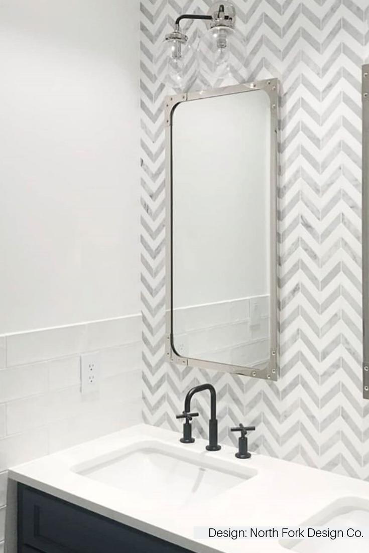 White Carrara Thassos Marble Chevron Tile Bathroom Interior Design Master Bathroom Timeless Bathroom