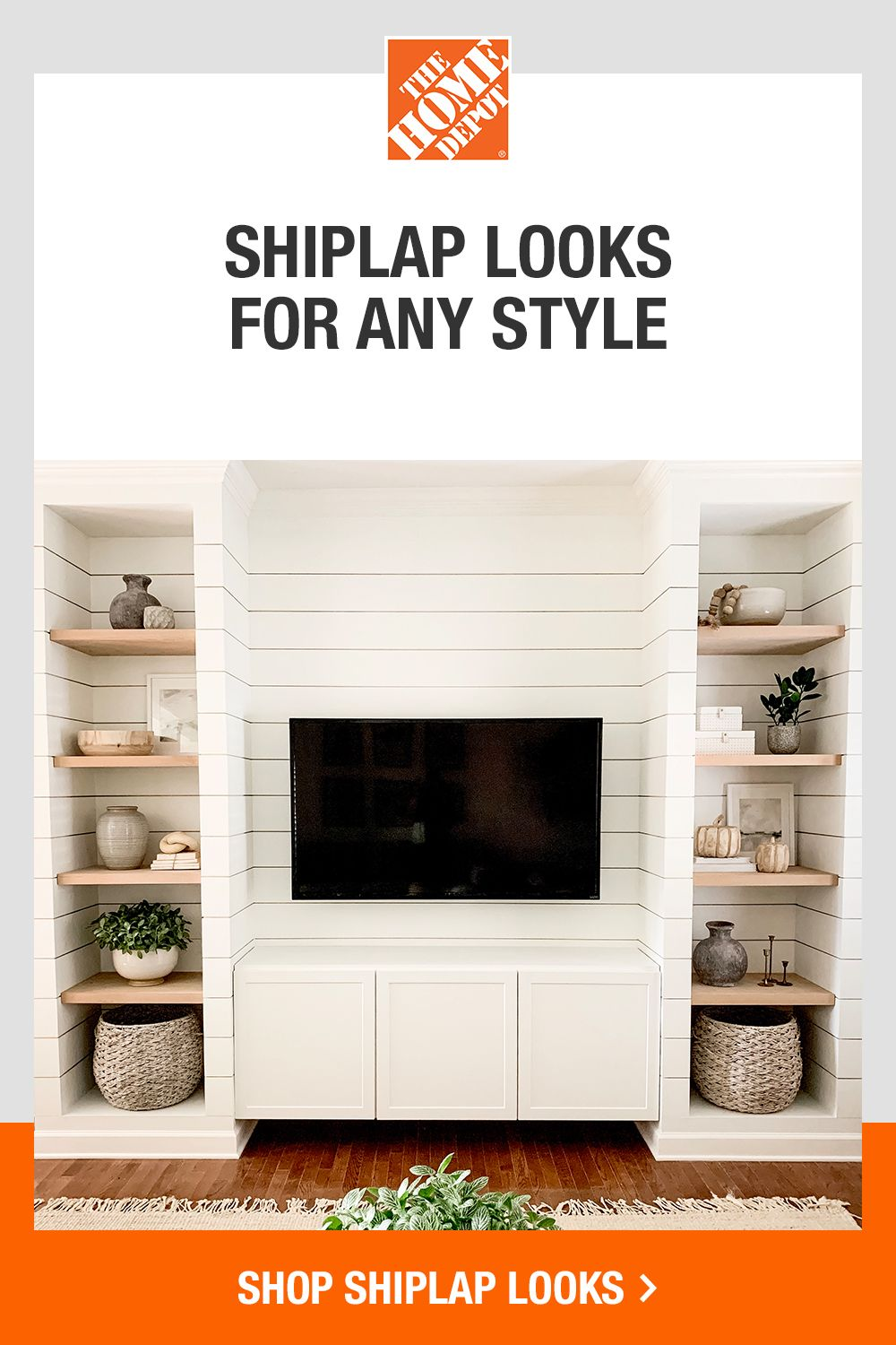 Get your shiplap look done right at The Home Depot. Find easy how-to guides to help with your DIY project; get tool rentals and all the supplies you need to completely refresh your space. Tap to shop shiplap looks at The Home Depot.