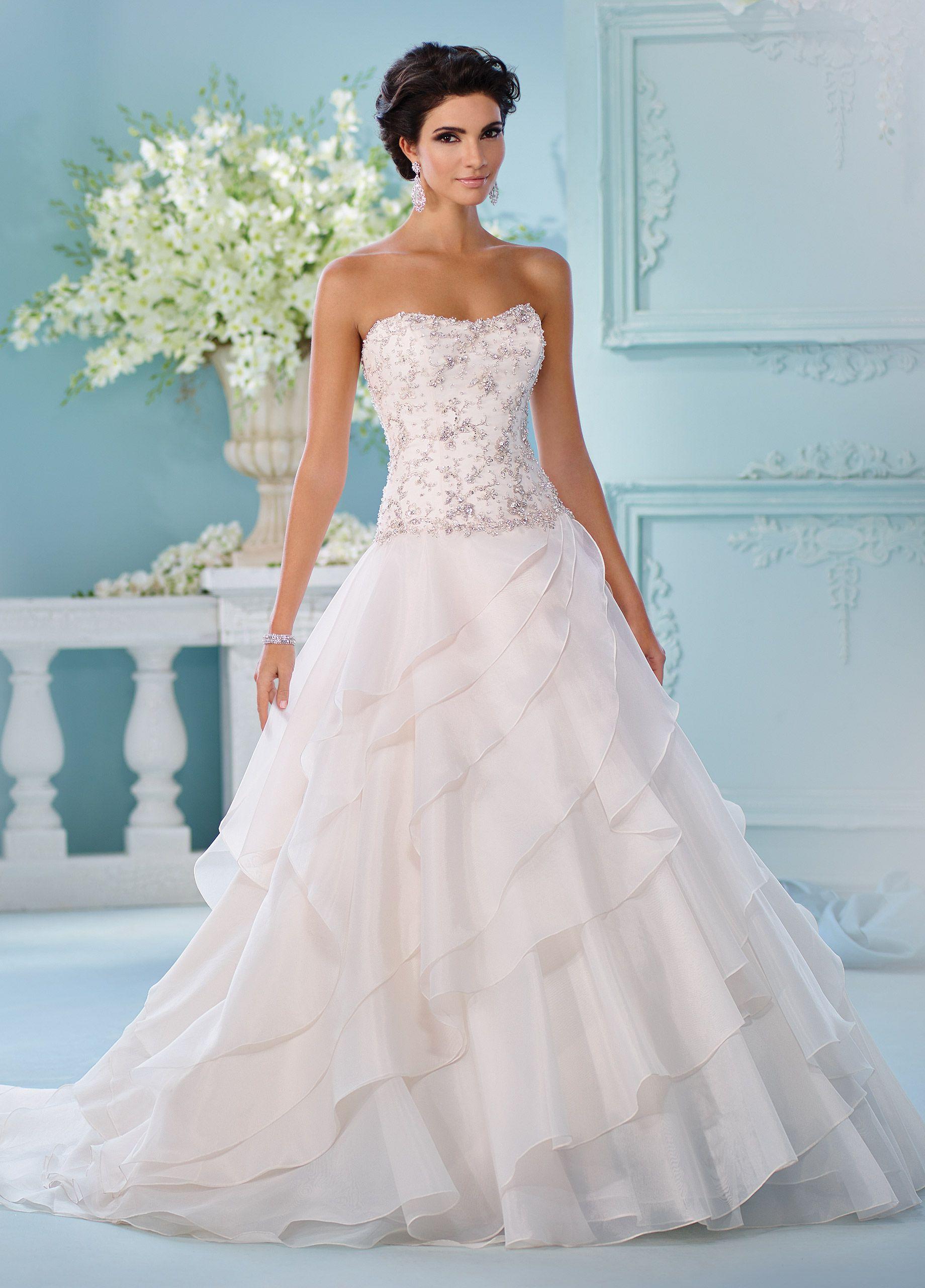 Asymmetrical Cut Skirt Beaded Bodice Wedding Dress- 216247 Sapphire ...
