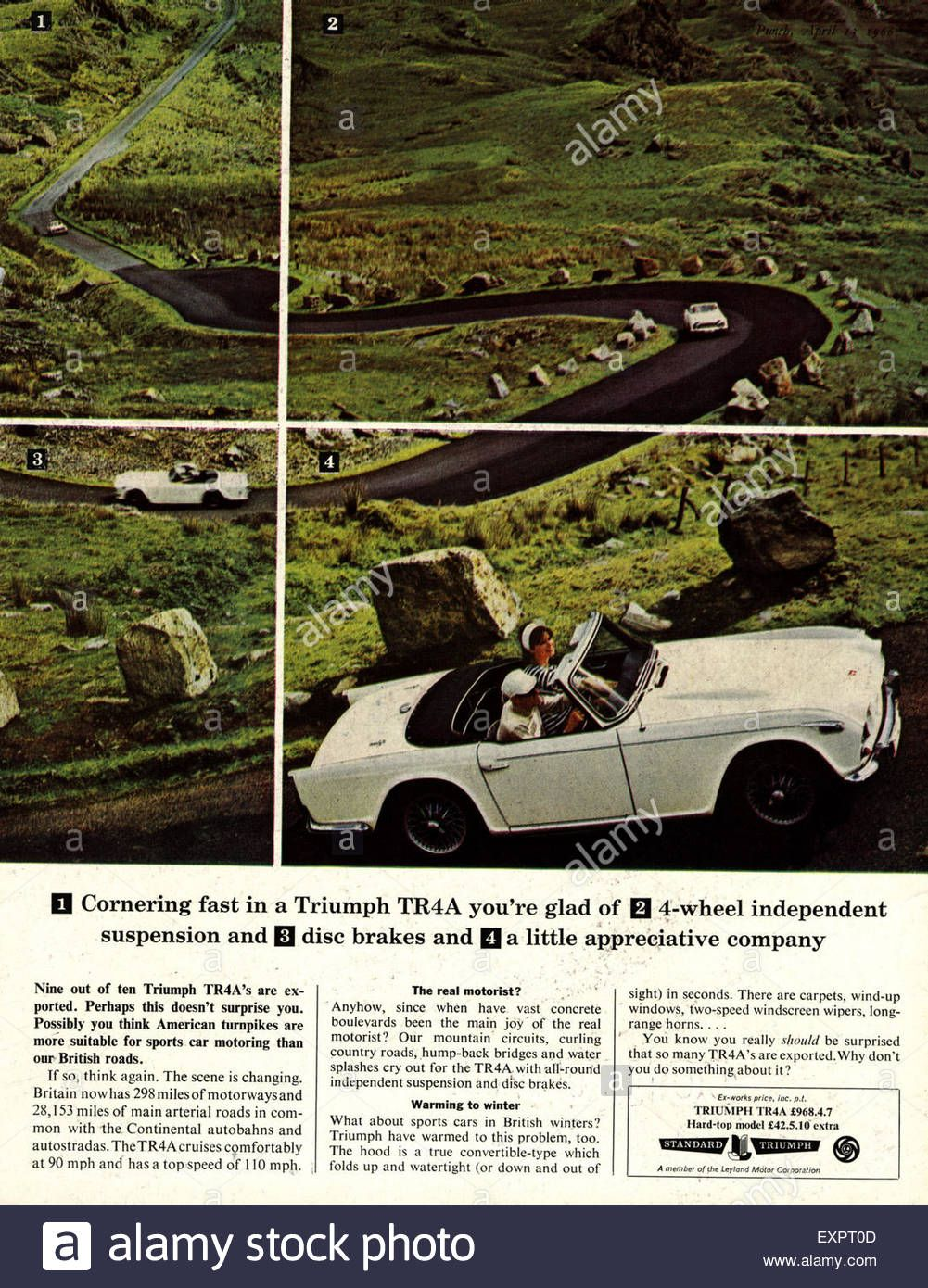 Download This Stock Image 1960s Uk Triumph Tr4 Cars Magazine Advert