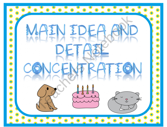 Main Idea and Detail Concentration product from Reading-Toward-the-Stars on TeachersNotebook.com