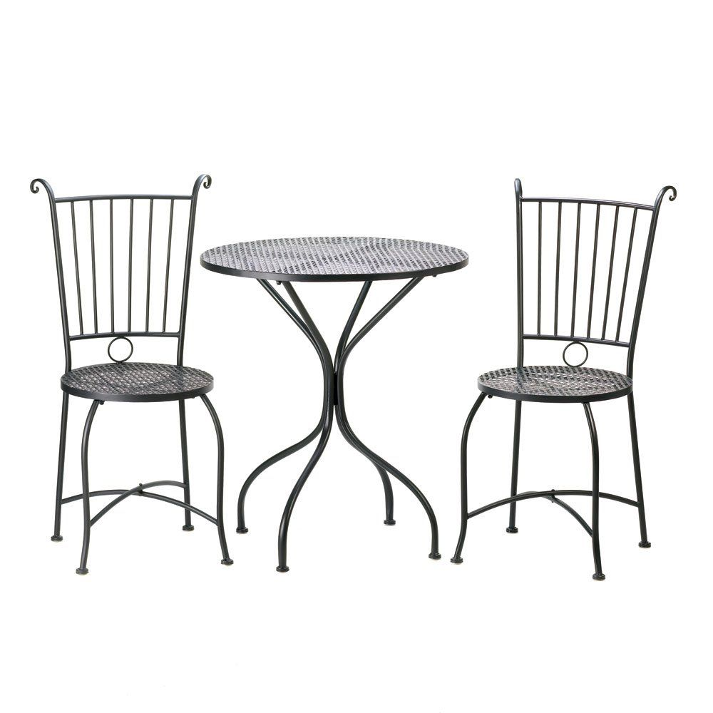 """Home Locomotion Garden Patio Table And Chair Set. 27.5"""" x 27.5"""" x 30"""" high. Iron. Contents not included."""