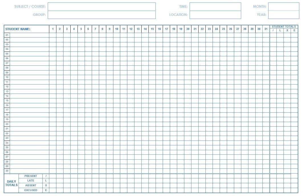 School Attendance List Templates  Free Word Excel  Pdf