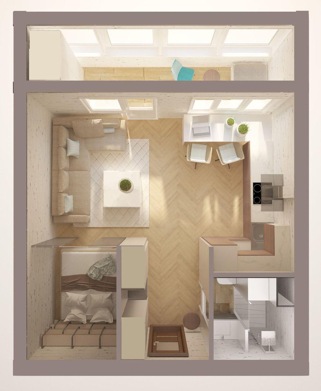 6d6b89f79c648 Специально для читателей InMyRoom дизайнер Ольга Бондарь рассмотрела три  варианта планировки однокомнатной квартиры общей площадью 34,8 квадратных  метров ...