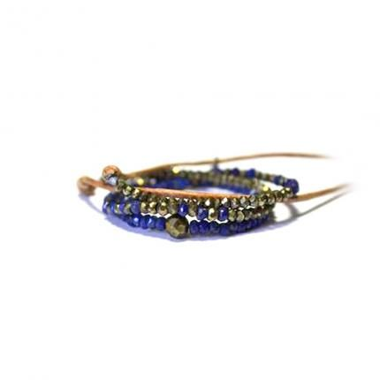 Lapis Lazuli and pyrite beads on adjustable leather bracelet. Oxidised sterling silver clasp.
