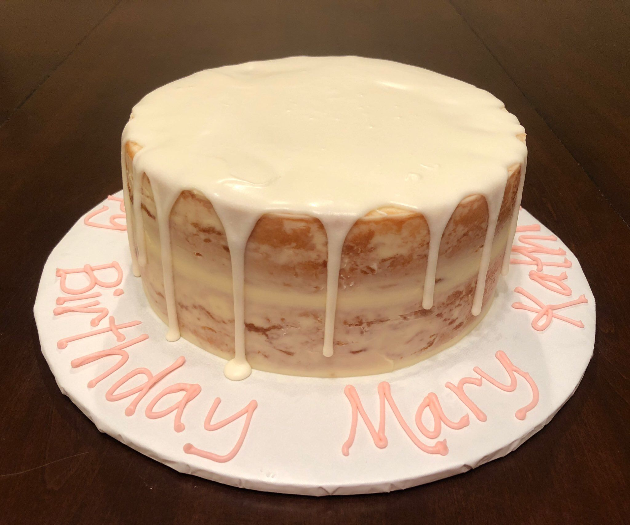 Happy Birthday Mary Kathryn Its An 8 Naked White Cake With