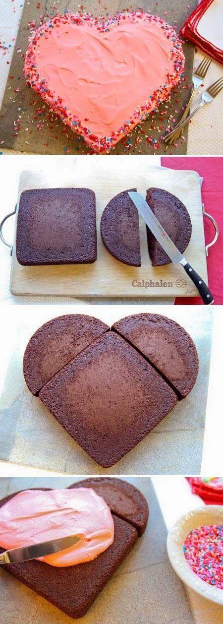 Easy heart shaped b day r Valentines Day cake recipe idea!