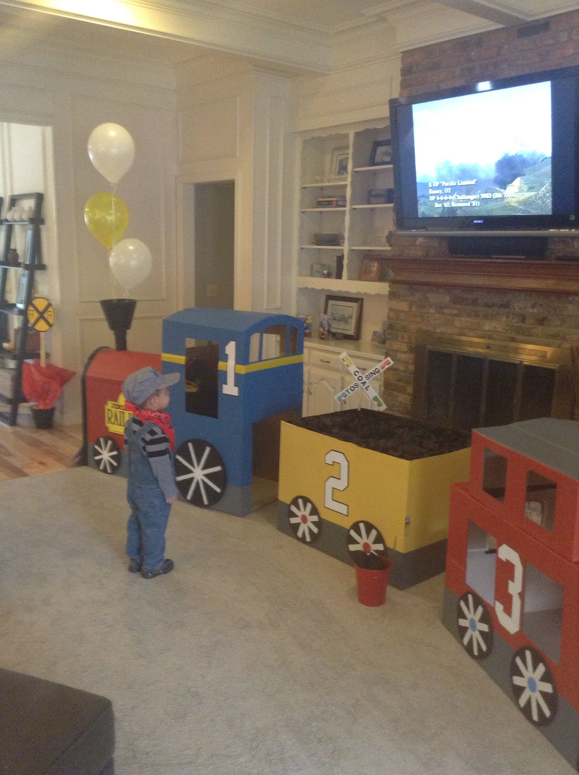 Card board train, kids train party, train engineer costume, coal ...