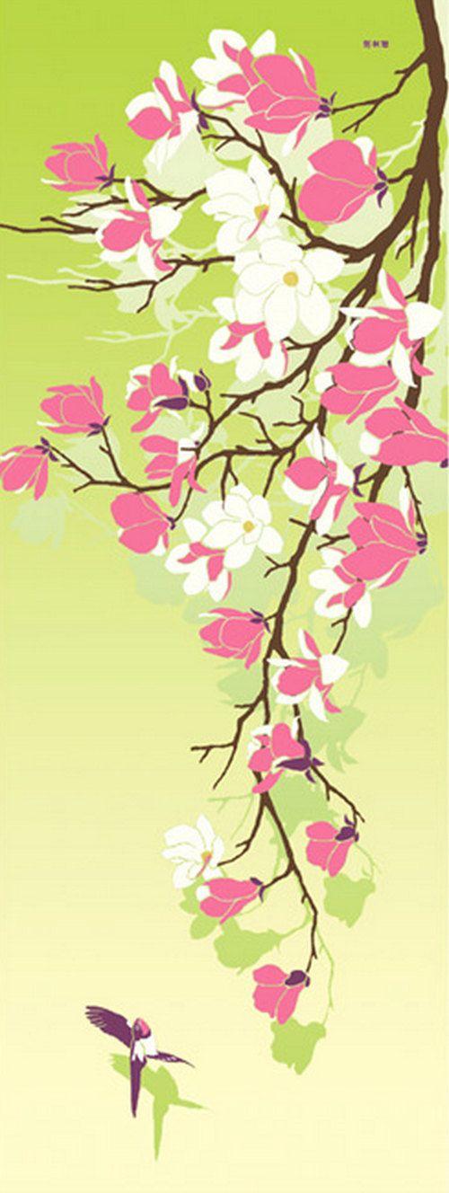 Japanese Tenugui Cotton Fabric, Magnolia Flower & Swallow Bird, Hand ...