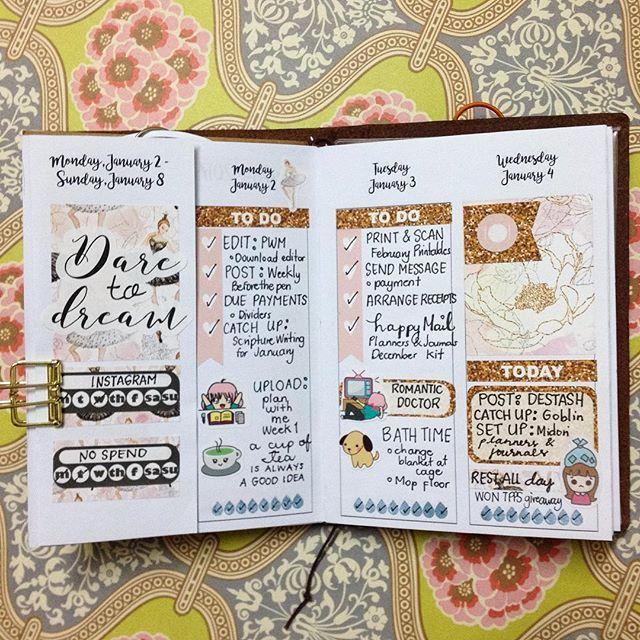 image regarding Annie Plans Printables known as Midweek in just my #midoritravelersnotebook applying @annie.applications