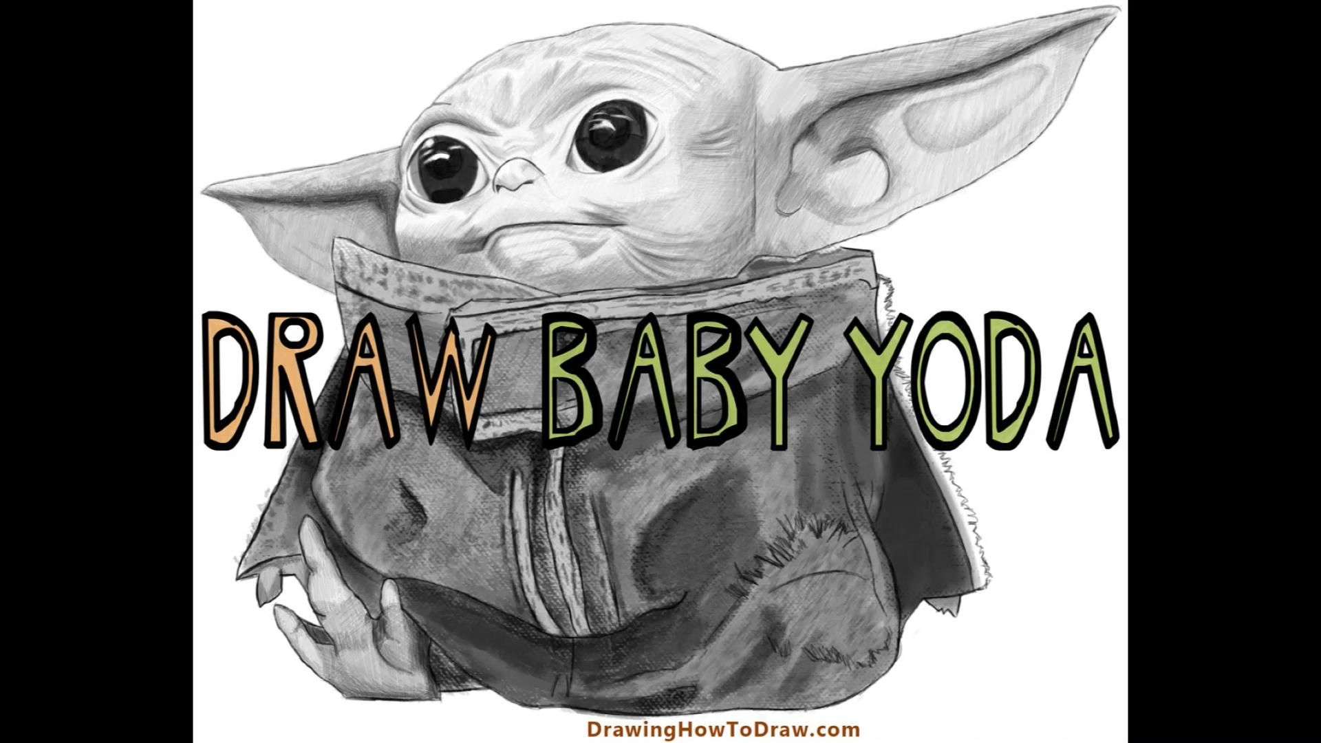 How To Draw Baby Yoda From The Mandalorian Realistic Easy Step By Step Drawing Tutorial How To Draw Step By Step Drawing Tutorials Video Video Star Wars Art Drawings