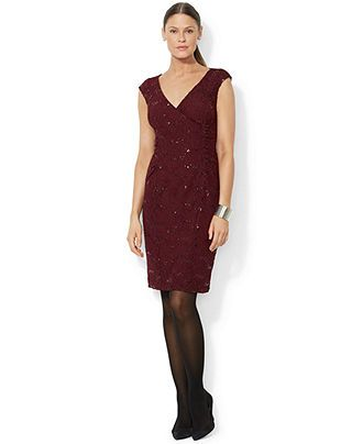 06ecbfb7a3c Lauren Ralph Lauren Cap-Sleeve Sequin-Lace Dress - Dresses - Women - Macy s
