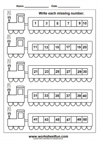 Missing Numbers 1 50 Train Worksheet 1 Download Missing Numbers Kindergarten Math Worksheets Number Worksheets Kindergarten Kindergarten Worksheets