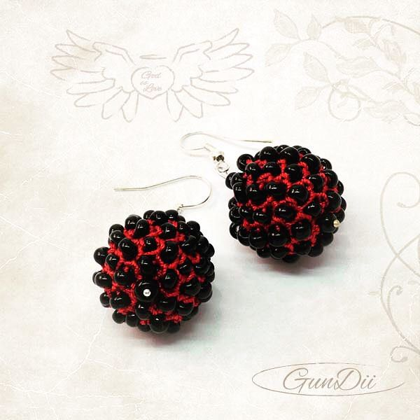 Gundii Pavonia collection red color earrings from Gundii Accessories. Handmade,Materials: iris thread, black pearls
