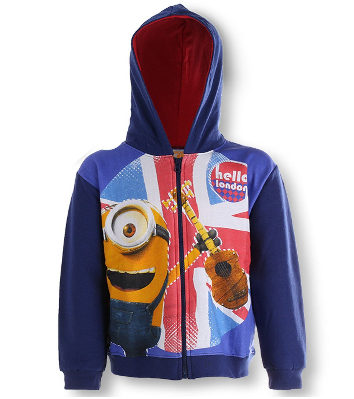 Despicable me minions zipped hooded blue fleece jumper jacket to